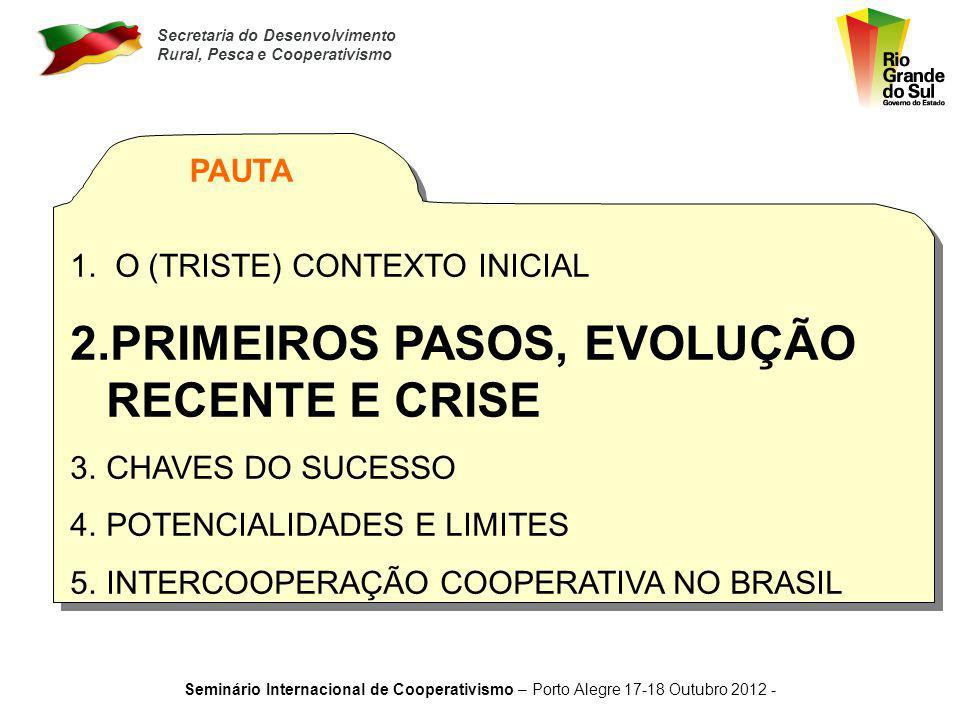 PRIMEIROS PASOS, EVOLUÇÃO RECENTE E CRISE