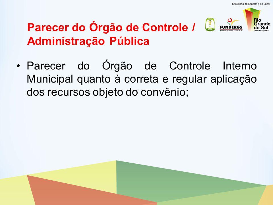 Parecer do Órgão de Controle / Administração Pública