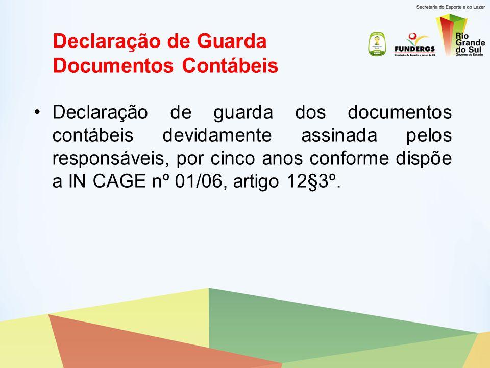 Declaração de Guarda Documentos Contábeis