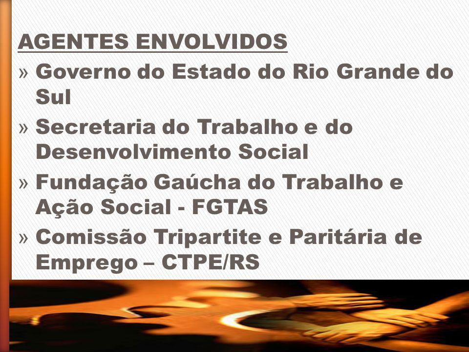 AGENTES ENVOLVIDOS Governo do Estado do Rio Grande do Sul. Secretaria do Trabalho e do Desenvolvimento Social.