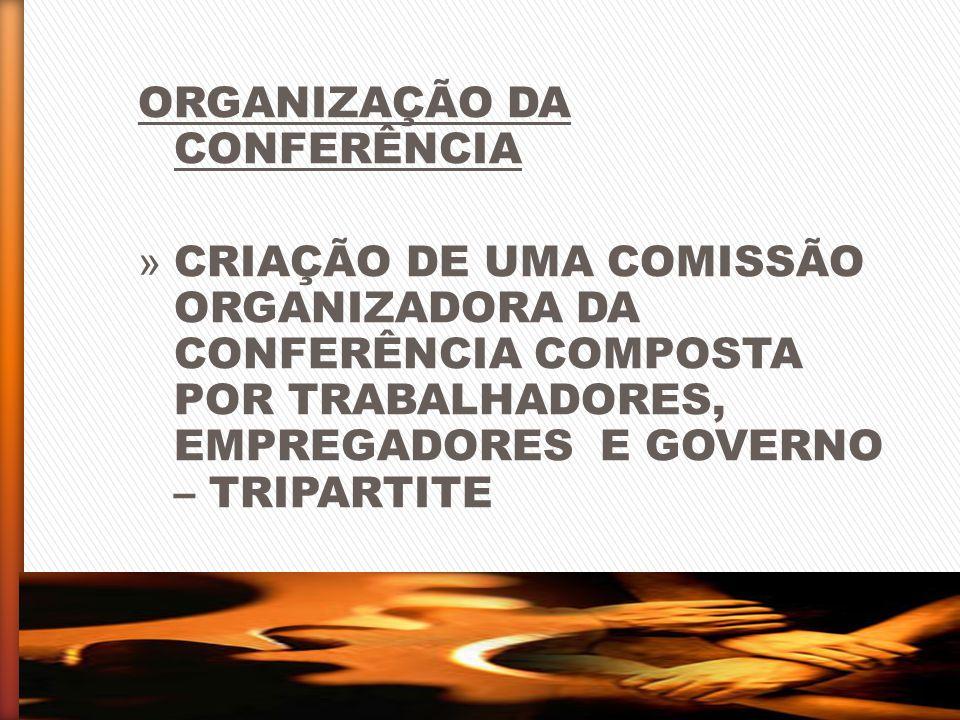 ORGANIZAÇÃO DA CONFERÊNCIA