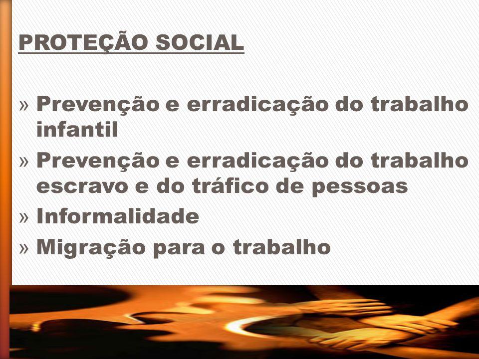 PROTEÇÃO SOCIAL Prevenção e erradicação do trabalho infantil. Prevenção e erradicação do trabalho escravo e do tráfico de pessoas.