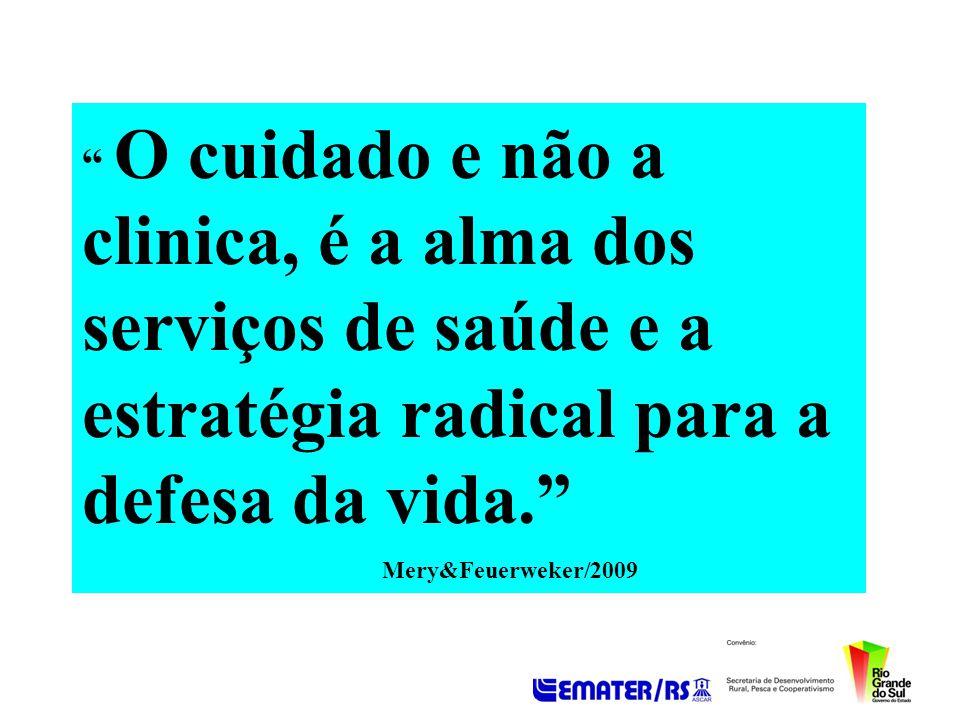 O cuidado e não a clinica, é a alma dos serviços de saúde e a estratégia radical para a defesa da vida.