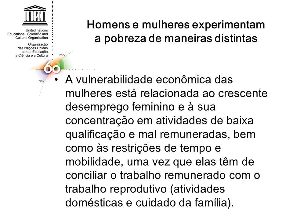 Homens e mulheres experimentam a pobreza de maneiras distintas