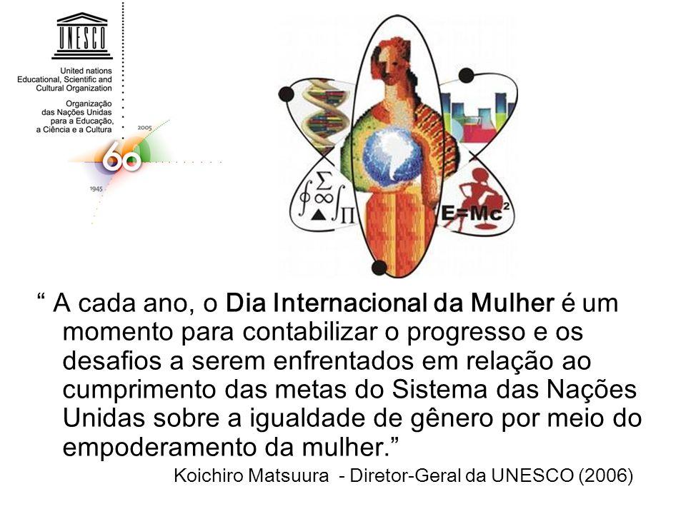 A cada ano, o Dia Internacional da Mulher é um momento para contabilizar o progresso e os desafios a serem enfrentados em relação ao cumprimento das metas do Sistema das Nações Unidas sobre a igualdade de gênero por meio do empoderamento da mulher.