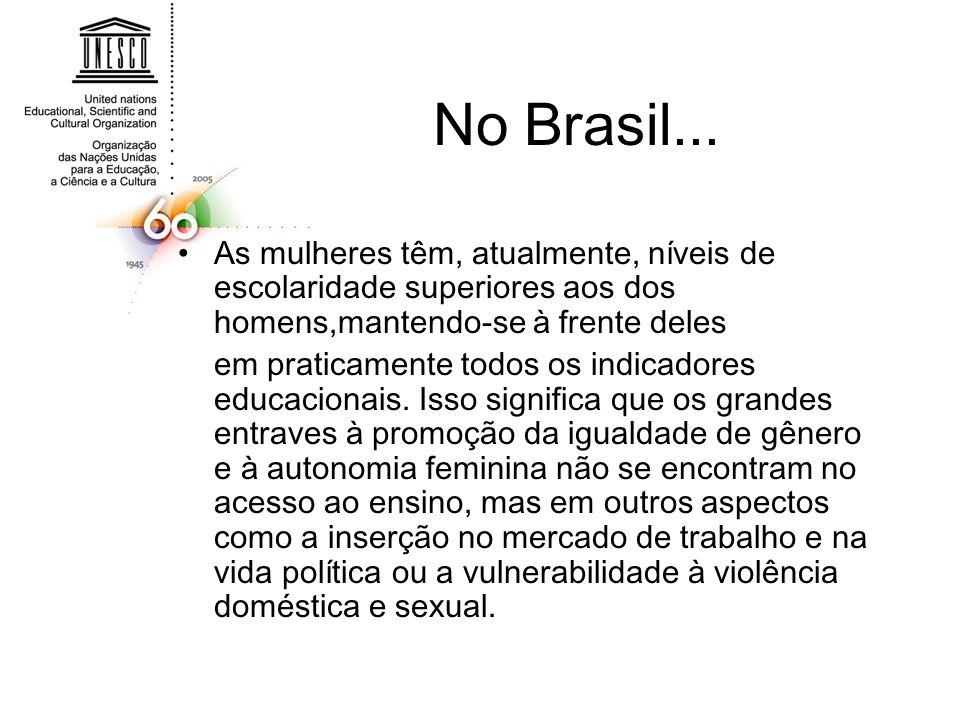 No Brasil... As mulheres têm, atualmente, níveis de escolaridade superiores aos dos homens,mantendo-se à frente deles.