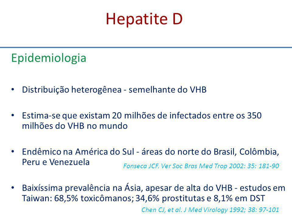 Hepatite D Epidemiologia Distribuição heterogênea - semelhante do VHB
