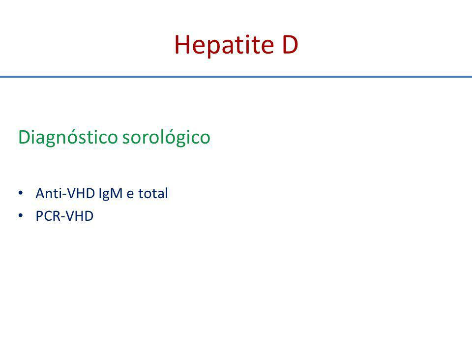 Hepatite D Diagnóstico sorológico Anti-VHD IgM e total PCR-VHD