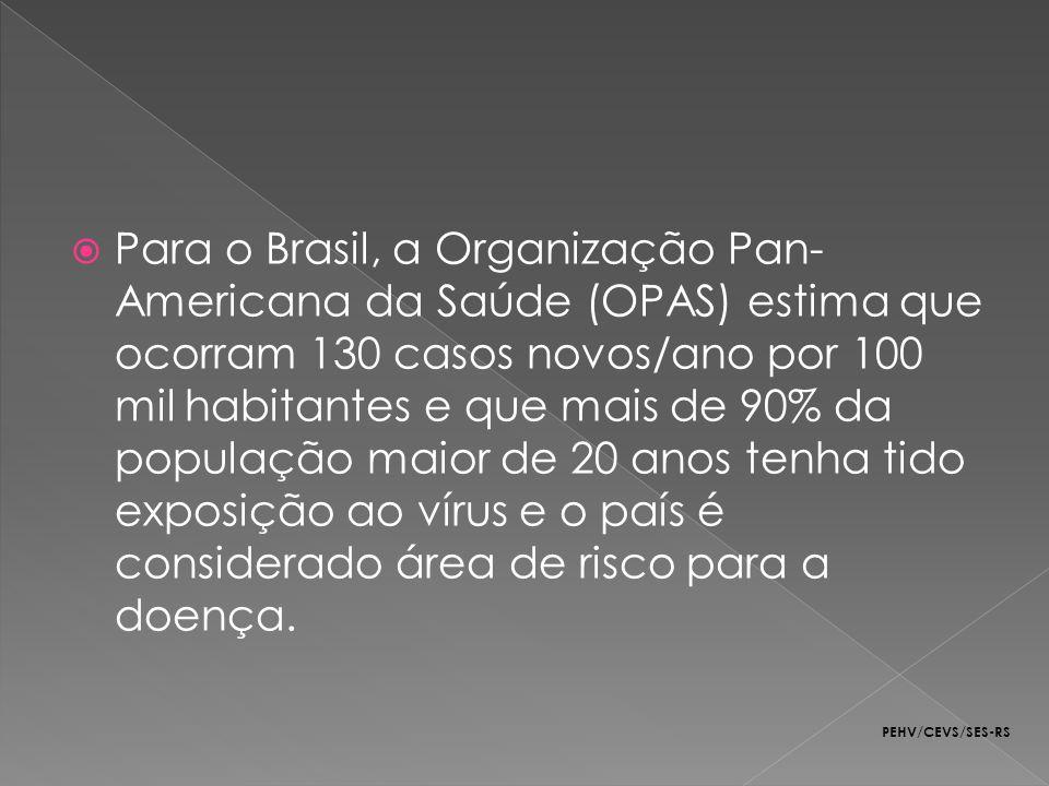 Para o Brasil, a Organização Pan-Americana da Saúde (OPAS) estima que ocorram 130 casos novos/ano por 100 mil habitantes e que mais de 90% da população maior de 20 anos tenha tido exposição ao vírus e o país é considerado área de risco para a doença.