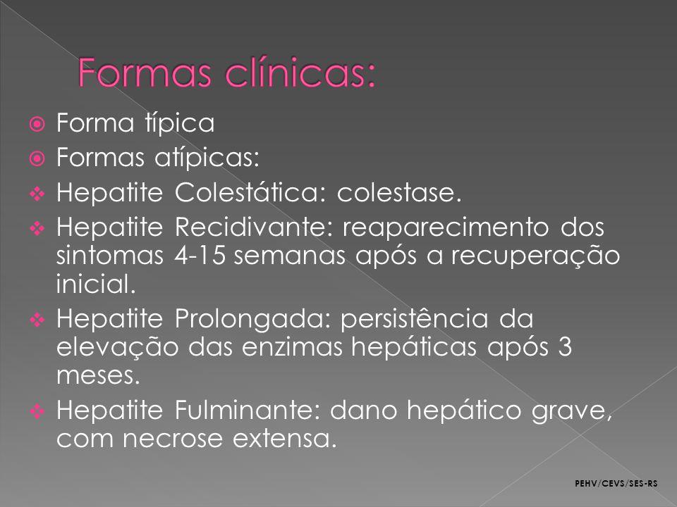 Formas clínicas: Forma típica Formas atípicas: