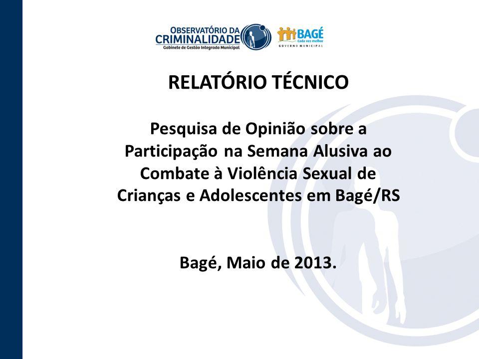 RELATÓRIO TÉCNICO Pesquisa de Opinião sobre a Participação na Semana Alusiva ao Combate à Violência Sexual de Crianças e Adolescentes em Bagé/RS.
