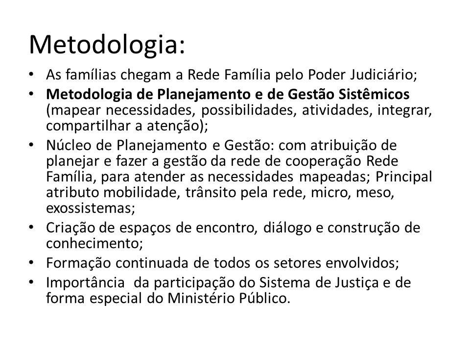 Metodologia: As famílias chegam a Rede Família pelo Poder Judiciário;