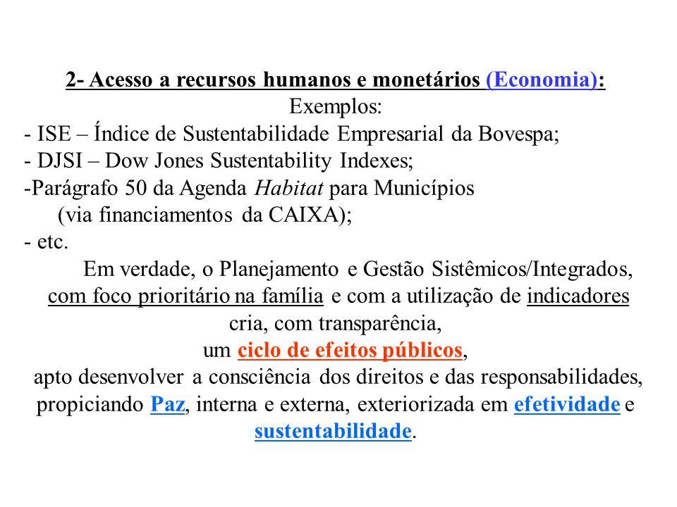 2- Acesso a recursos humanos e monetários (Economia):