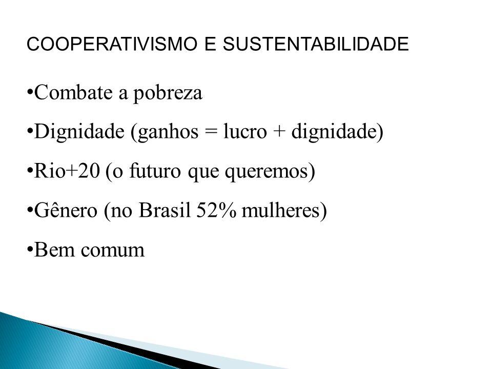 Dignidade (ganhos = lucro + dignidade) Rio+20 (o futuro que queremos)