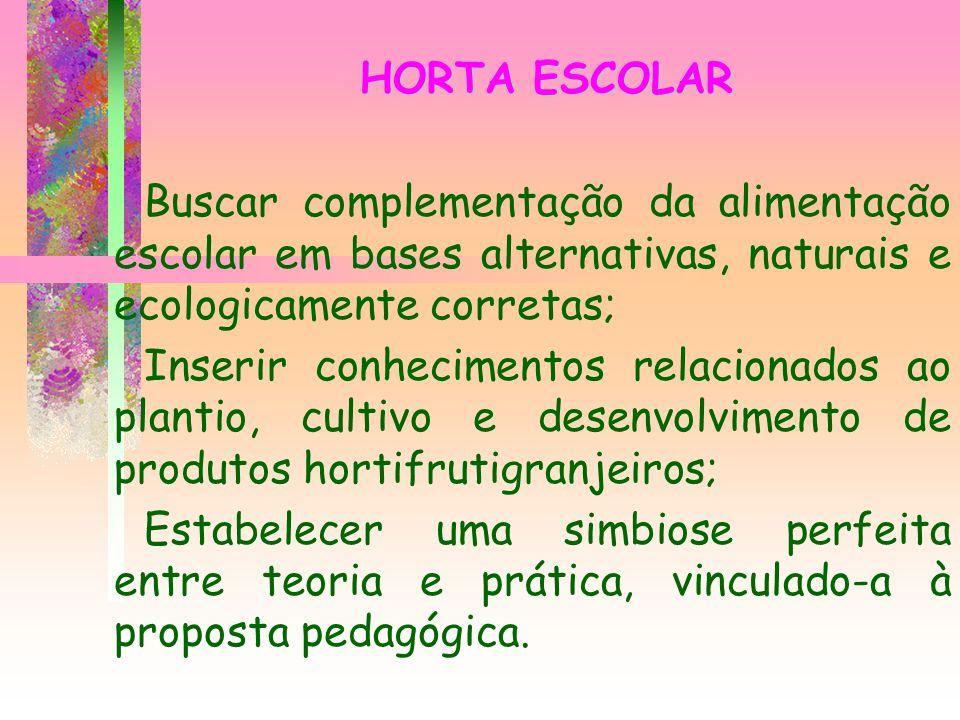 HORTA ESCOLAR Buscar complementação da alimentação escolar em bases alternativas, naturais e ecologicamente corretas;