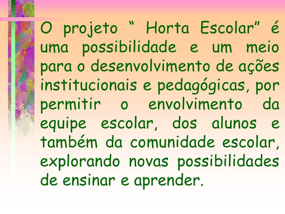 O projeto Horta Escolar é uma possibilidade e um meio para o desenvolvimento de ações institucionais e pedagógicas, por permitir o envolvimento da equipe escolar, dos alunos e também da comunidade escolar, explorando novas possibilidades de ensinar e aprender.