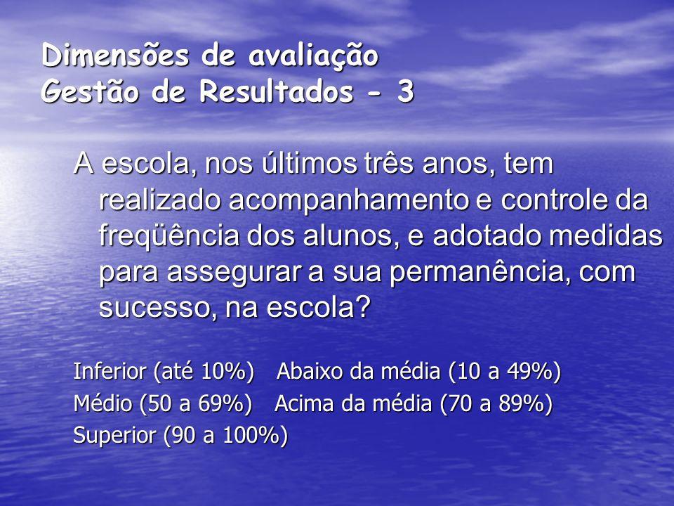 Dimensões de avaliação Gestão de Resultados - 3
