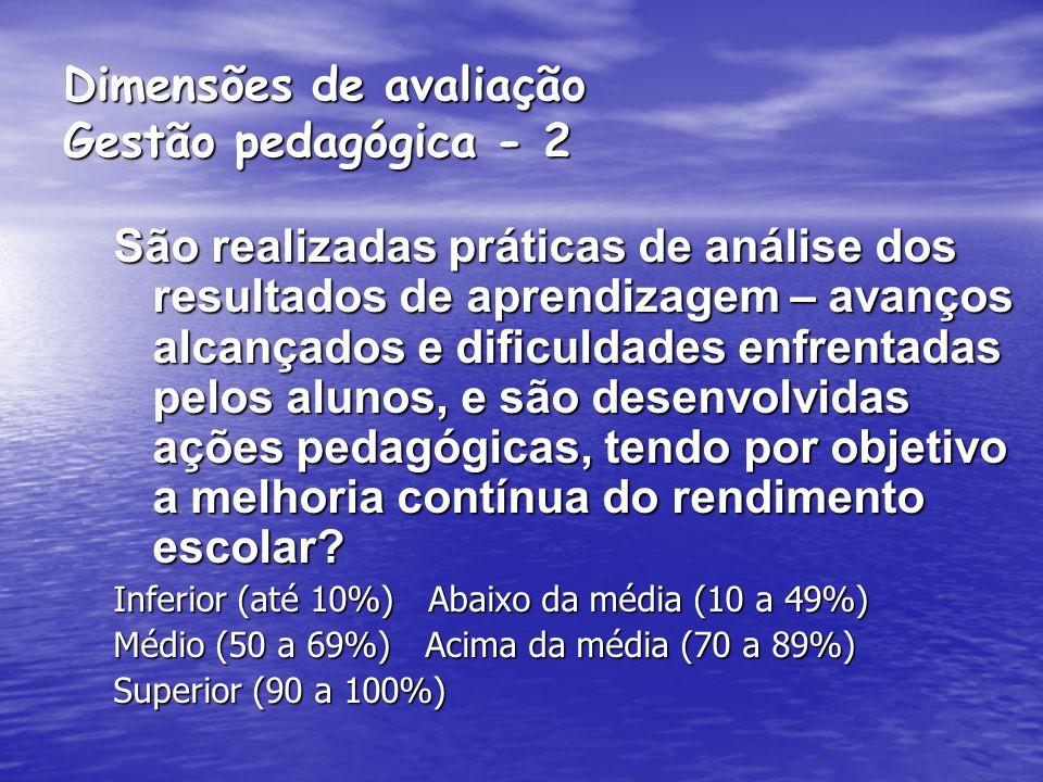 Dimensões de avaliação Gestão pedagógica - 2