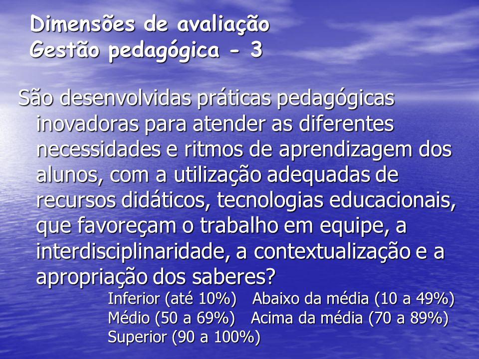 Dimensões de avaliação Gestão pedagógica - 3