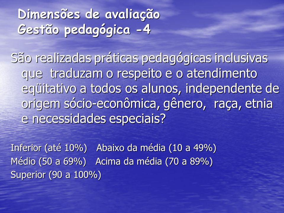 Dimensões de avaliação Gestão pedagógica -4