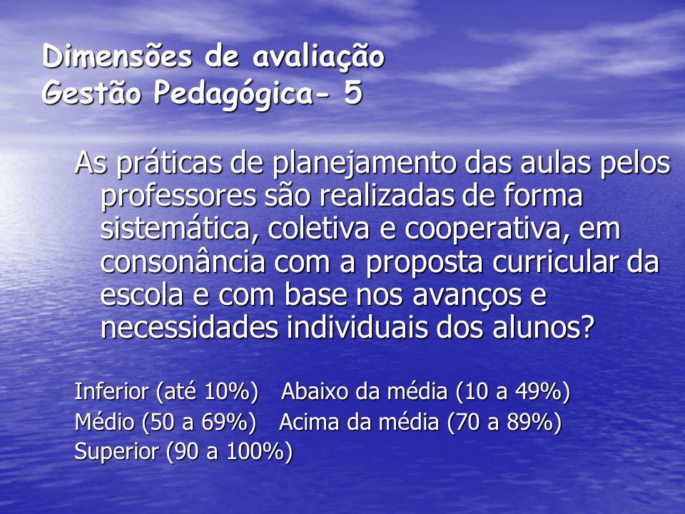 Dimensões de avaliação Gestão Pedagógica- 5