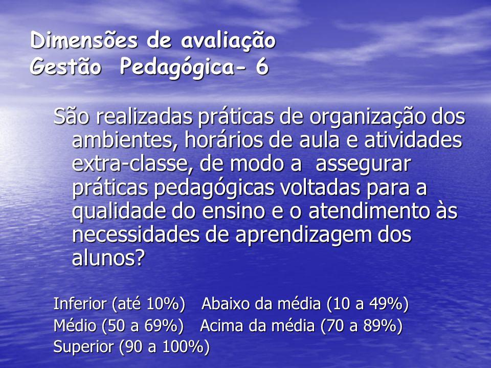 Dimensões de avaliação Gestão Pedagógica- 6