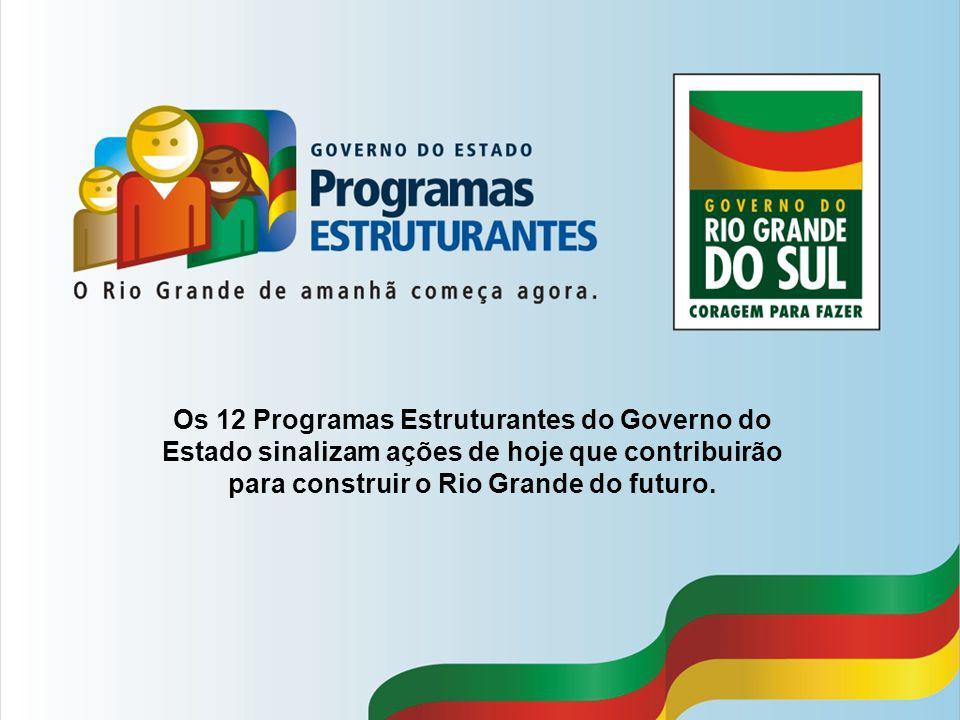 Os 12 Programas Estruturantes do Governo do Estado sinalizam ações de hoje que contribuirão para construir o Rio Grande do futuro.