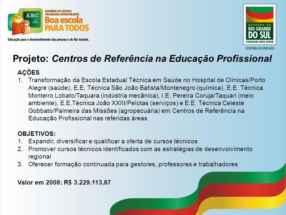Projeto: Centros de Referência na Educação Profissional