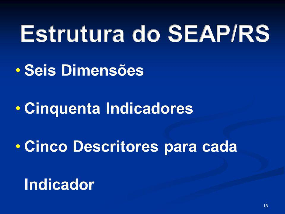 Estrutura do SEAP/RS Seis Dimensões Cinquenta Indicadores