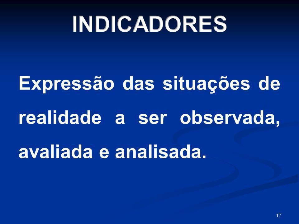 INDICADORES Expressão das situações de realidade a ser observada, avaliada e analisada. 17