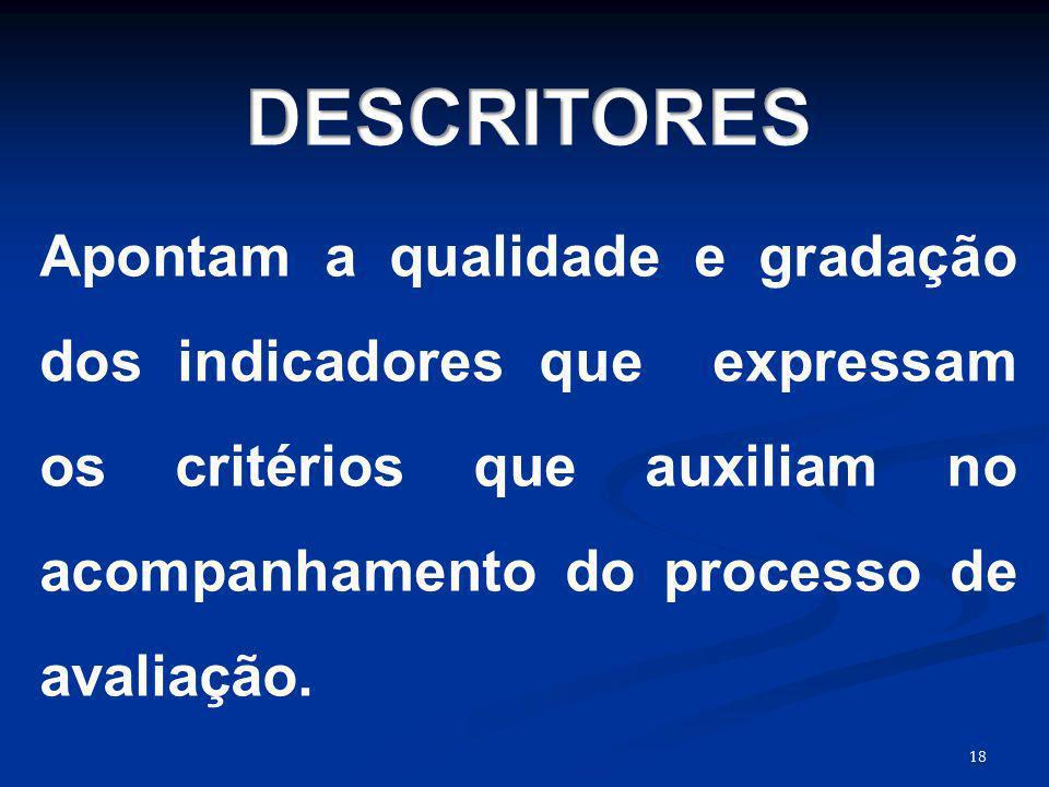DESCRITORES Apontam a qualidade e gradação dos indicadores que expressam os critérios que auxiliam no acompanhamento do processo de avaliação.