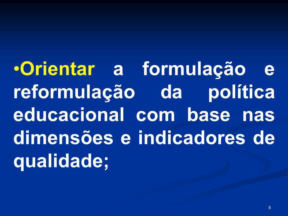 Orientar a formulação e reformulação da política educacional com base nas dimensões e indicadores de qualidade;