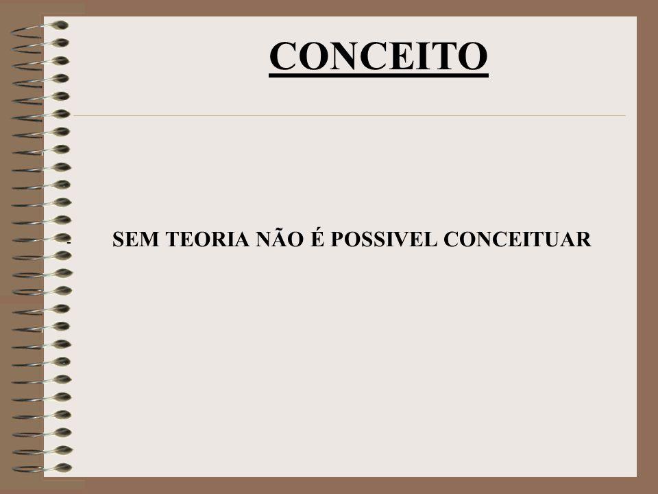 - SEM TEORIA NÃO É POSSIVEL CONCEITUAR