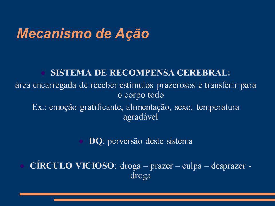 Mecanismo de Ação SISTEMA DE RECOMPENSA CEREBRAL: