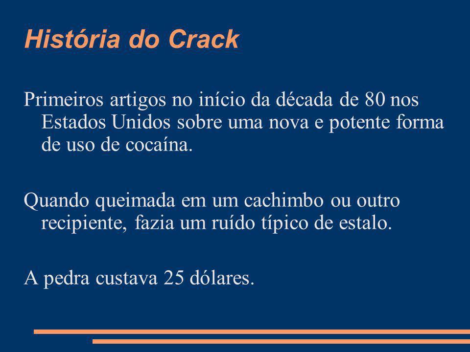 História do Crack Primeiros artigos no início da década de 80 nos Estados Unidos sobre uma nova e potente forma de uso de cocaína.
