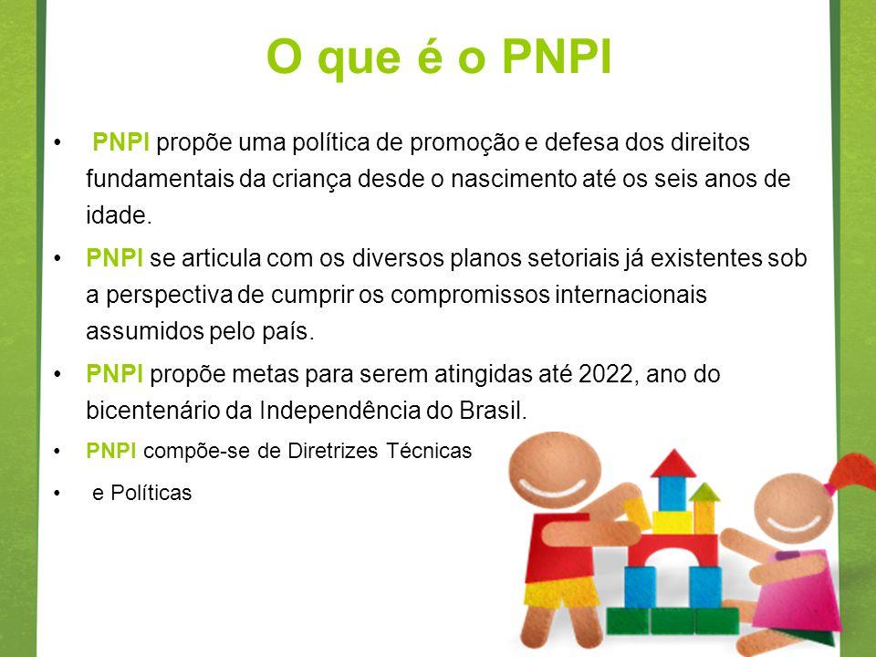 O que é o PNPI PNPI propõe uma política de promoção e defesa dos direitos fundamentais da criança desde o nascimento até os seis anos de idade.