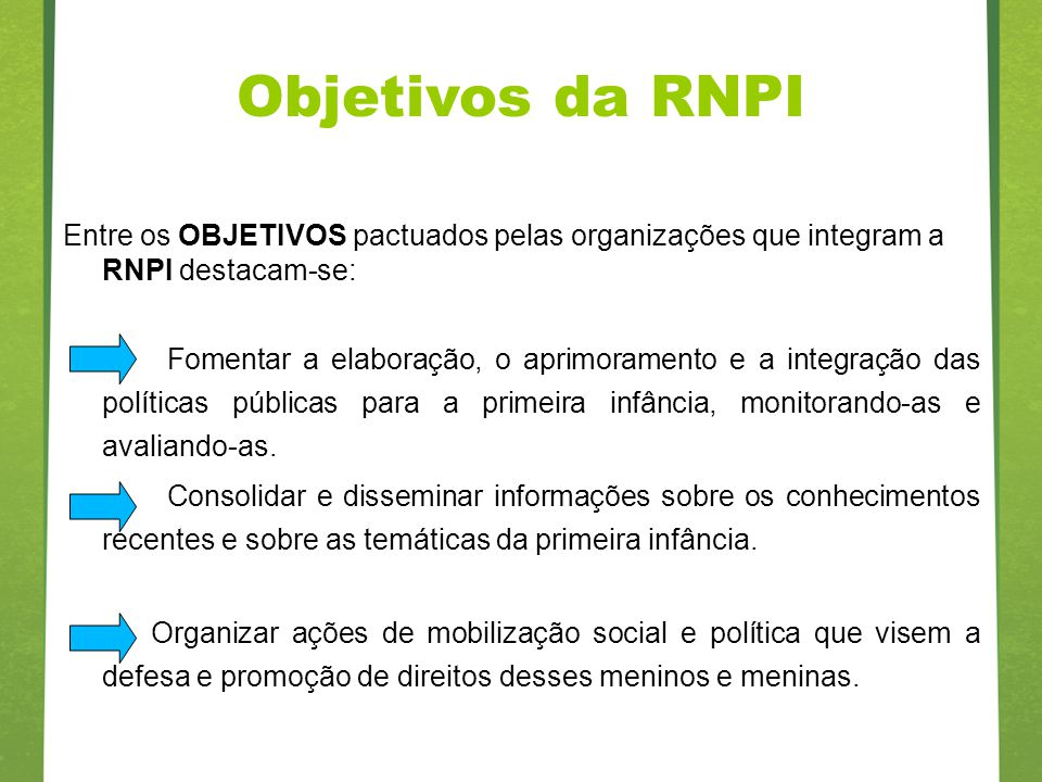 Objetivos da RNPI Entre os OBJETIVOS pactuados pelas organizações que integram a RNPI destacam-se: