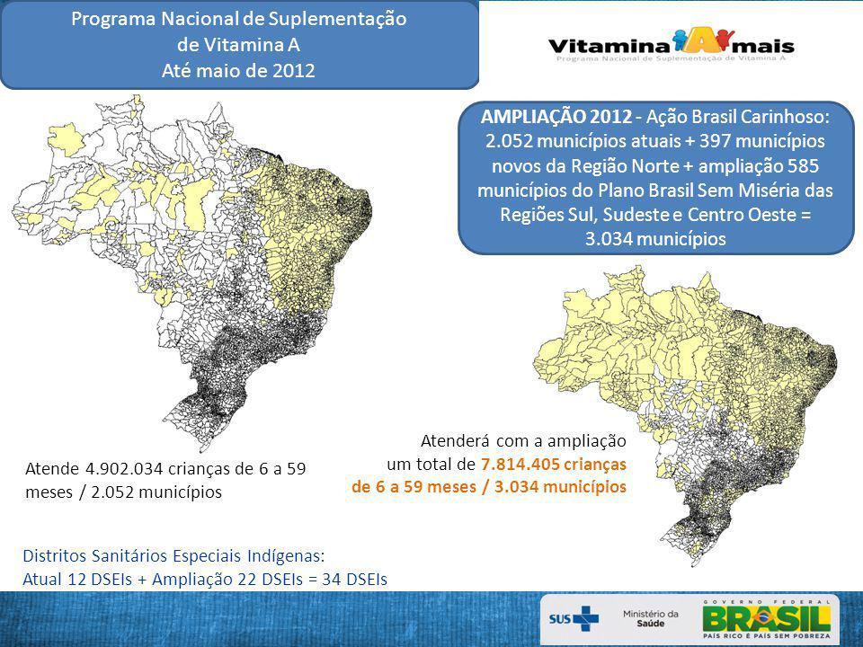 Programa Nacional de Suplementação de Vitamina A Até maio de 2012