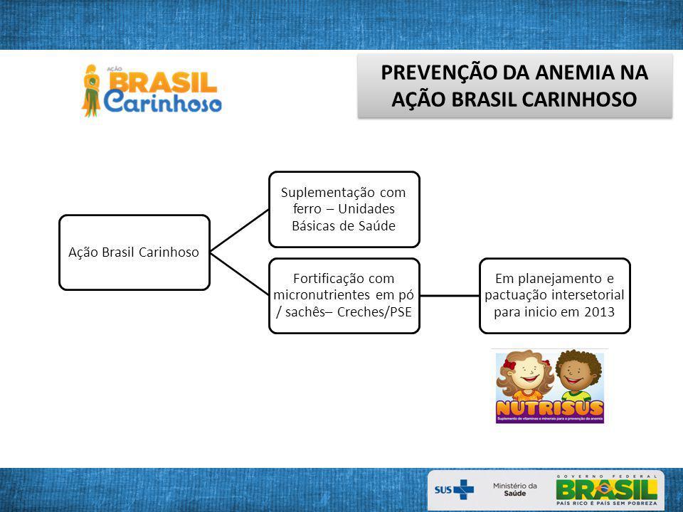 PREVENÇÃO DA ANEMIA NA AÇÃO BRASIL CARINHOSO