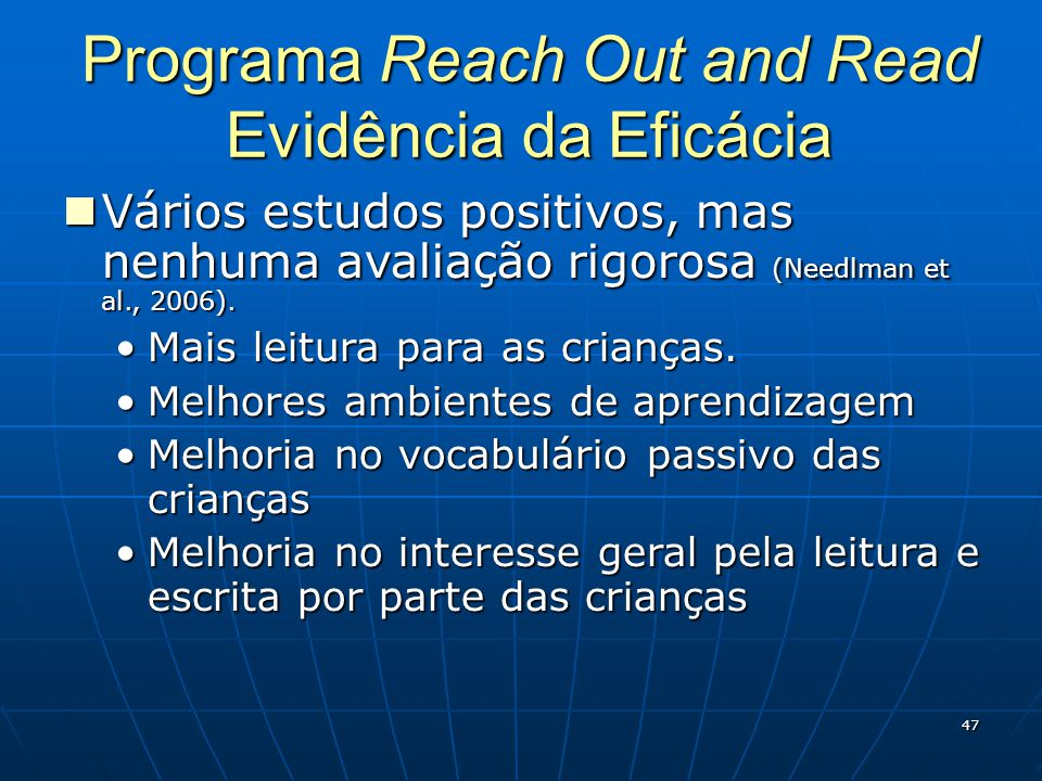Programa Reach Out and Read Evidência da Eficácia