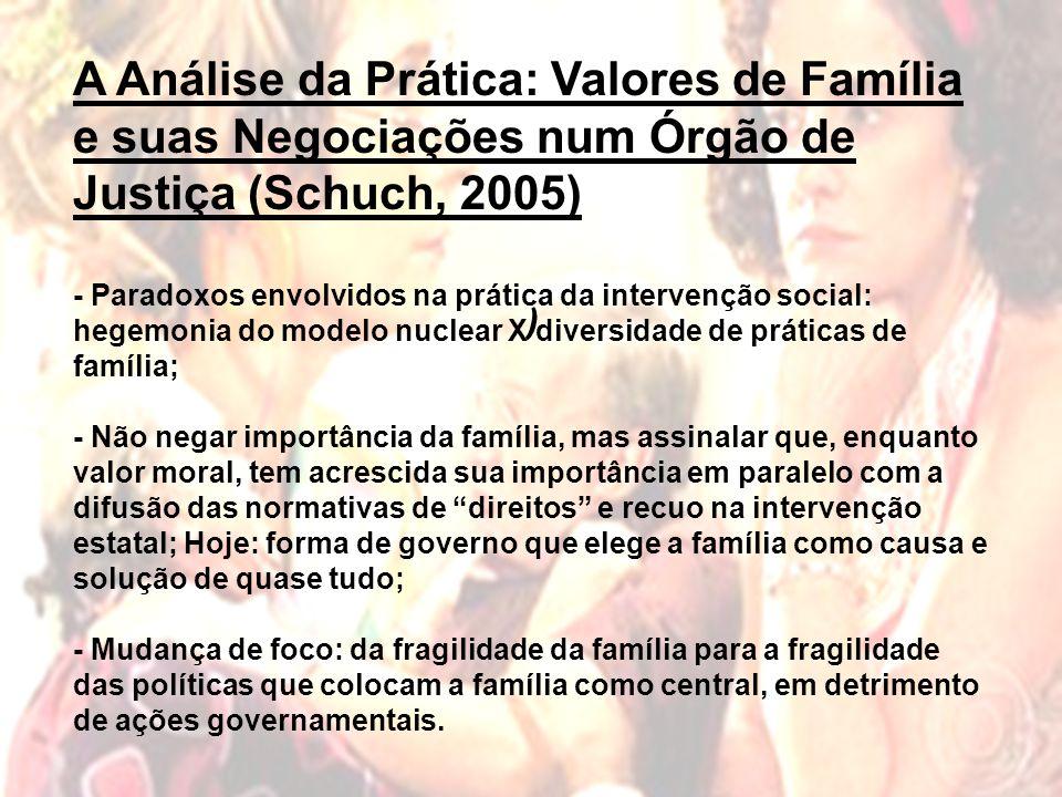A Análise da Prática: Valores de Família e suas Negociações num Órgão de Justiça (Schuch, 2005)