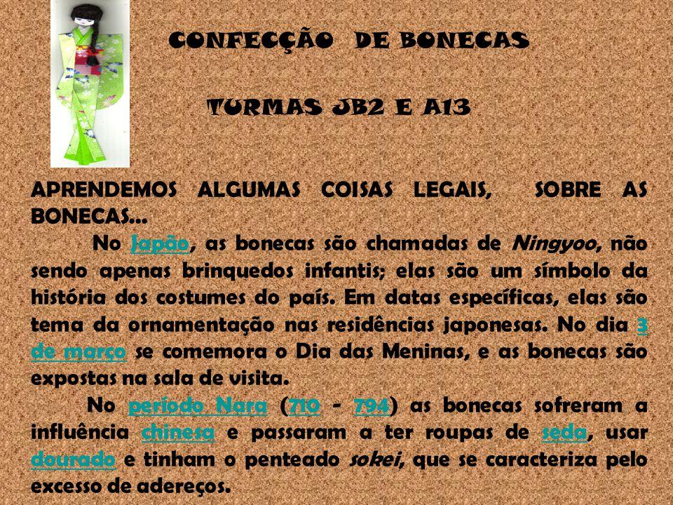 CONFECÇÃO DE BONECAS TURMAS JB2 E A13. APRENDEMOS ALGUMAS COISAS LEGAIS, SOBRE AS BONECAS...