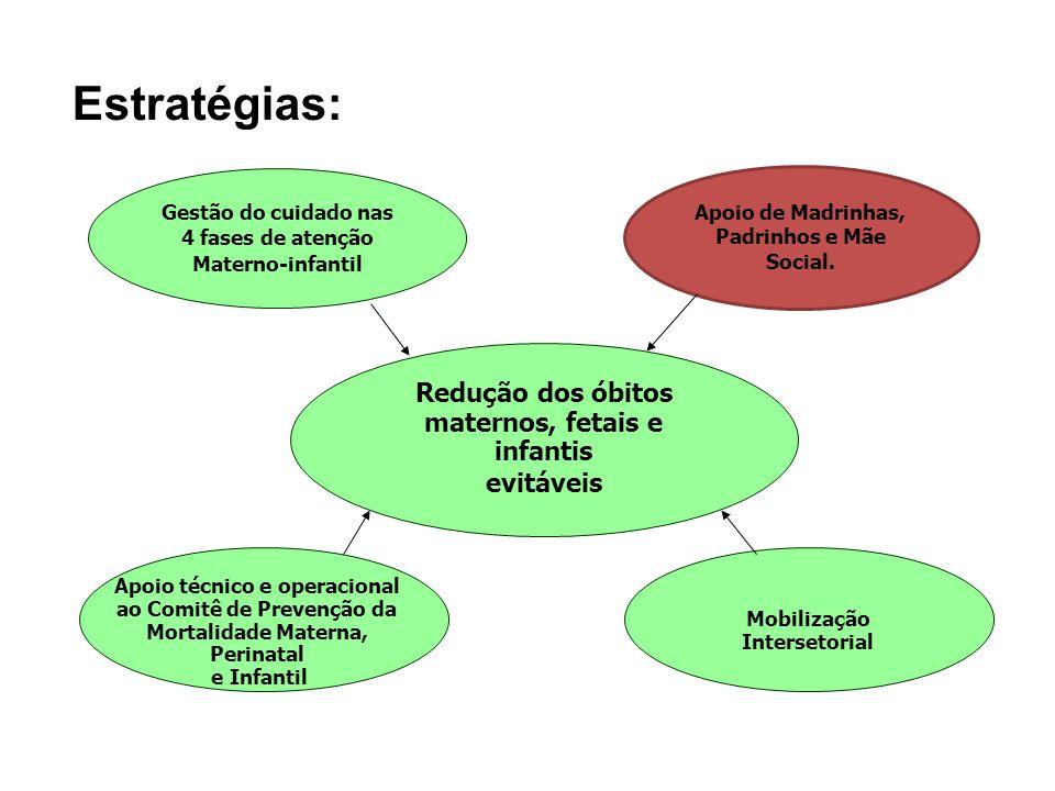 Estratégias: Redução dos óbitos maternos, fetais e infantis evitáveis
