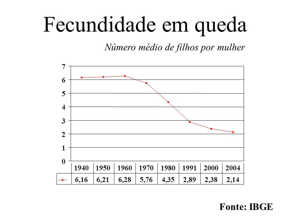 Fecundidade em queda Número médio de filhos por mulher Fonte: IBGE 7 6