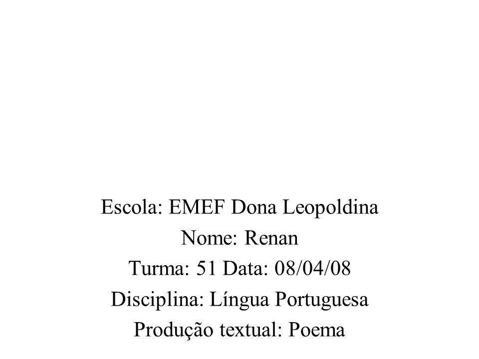 Escola: EMEF Dona Leopoldina Nome: Renan Turma: 51 Data: 08/04/08