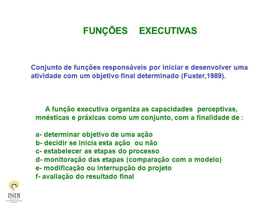 FUNÇÕES EXECUTIVAS Conjunto de funções responsáveis por iniciar e desenvolver uma. atividade com um objetivo final determinado (Fuster,1989).