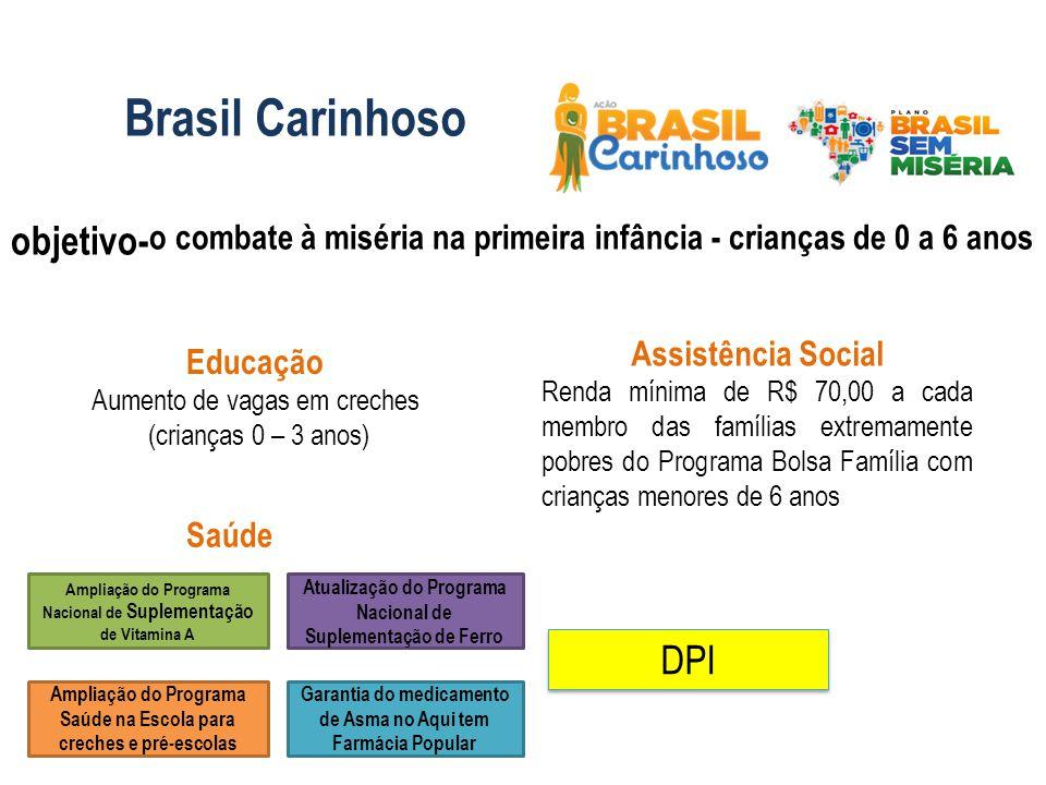 Brasil Carinhoso objetivo-o combate à miséria na primeira infância - crianças de 0 a 6 anos. Assistência Social.