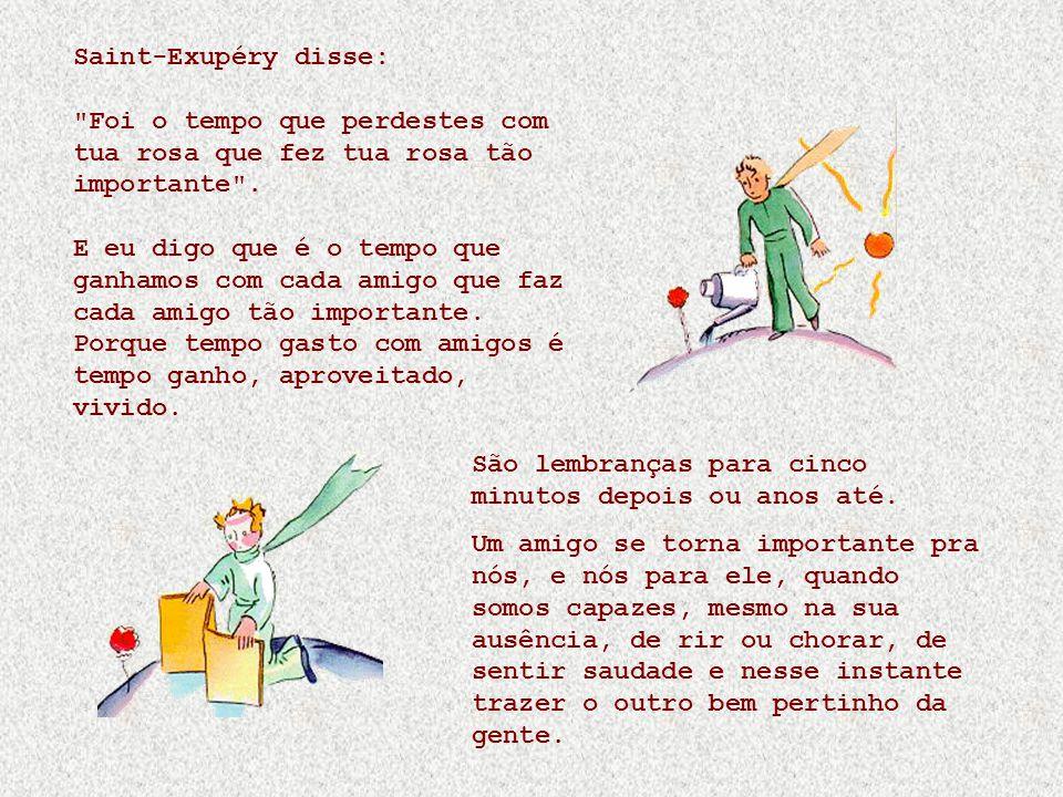 Saint-Exupéry disse: Foi o tempo que perdestes com tua rosa que fez tua rosa tão importante .