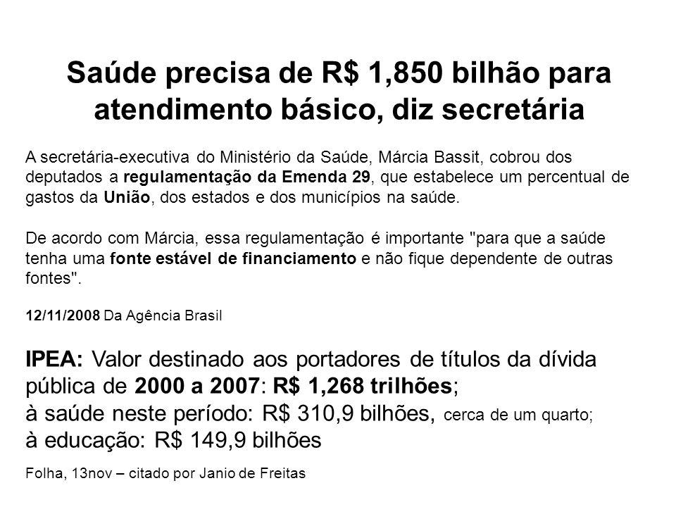 Saúde precisa de R$ 1,850 bilhão para atendimento básico, diz secretária