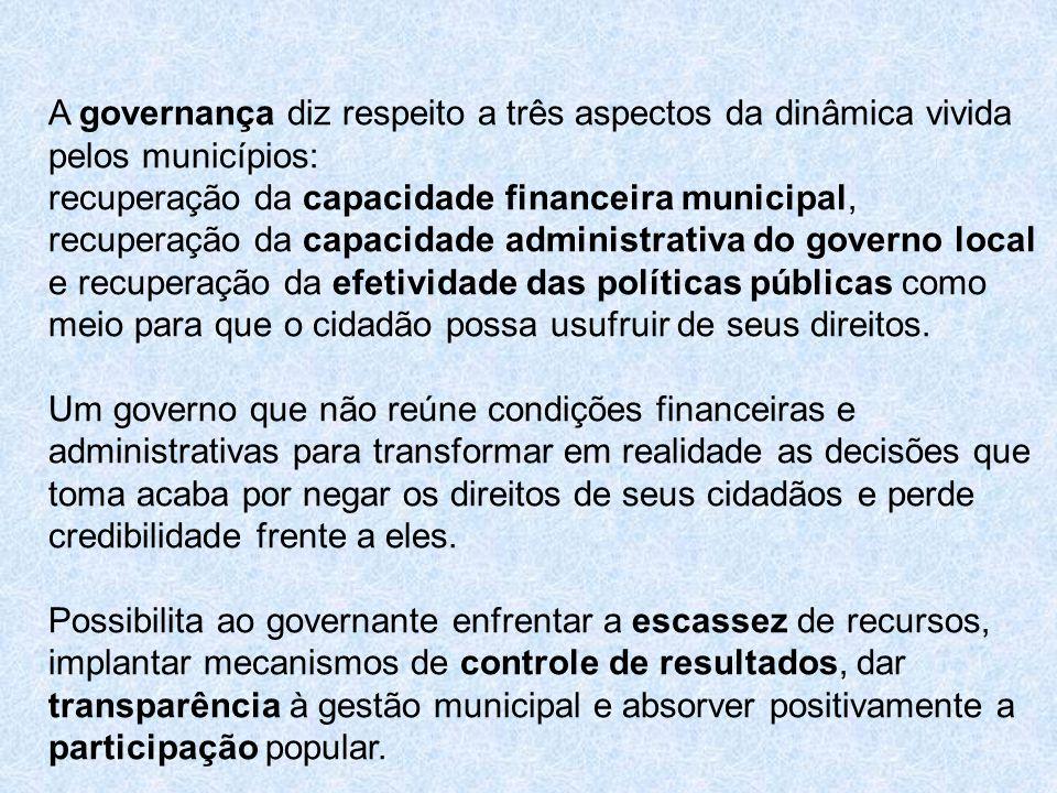 A governança diz respeito a três aspectos da dinâmica vivida pelos municípios: